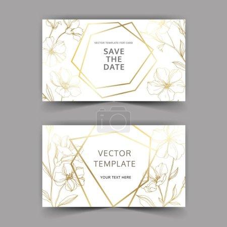 Illustration for Vector Flax floral botanical flowers. Golden engraved ink art. Wedding background card floral decorative border. Thank you, rsvp, invitation elegant card illustration graphic set banner. - Royalty Free Image
