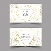 Vector Flax botanical flowers Golden engraved ink art Wedding background card floral decorative border