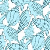"Постер, картина, фотообои ""Vector Summer beach seashell tropical elements. Black and white engraved ink art."""