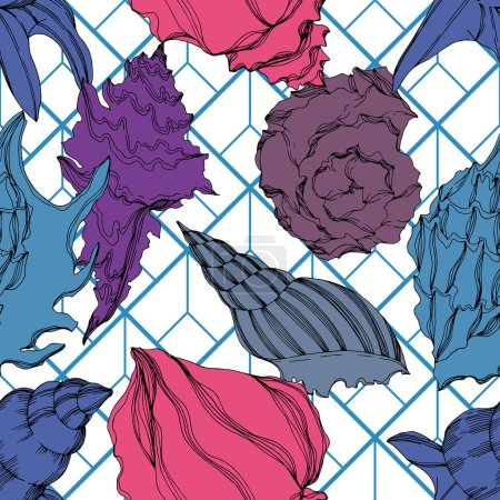 Illustration for Vector Summer beach seashell tropical elements. Seamless background pattern. - Royalty Free Image
