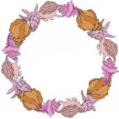 Vector Summer beach seashell tropical elements Frame border ornament with copy space