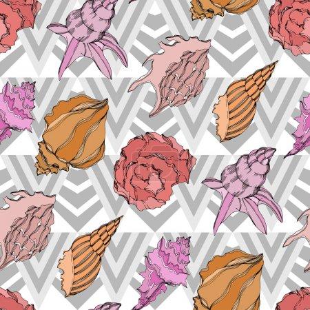Illustration pour Éléments tropicaux de coquillages de plage d'été de vecteur. Modèle de fond sans couture. - image libre de droit