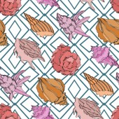 Vector Summer beach seashell tropical elements Seamless background pattern