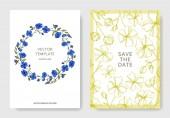 """Постер, картина, фотообои """"Векторный льняцветочные ботанические цветы. Черно-белые выгравированные чернила искусства. Свадебная фоновая карта."""""""