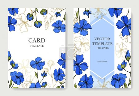 Illustration for Vector Flax botanical flowers. Black and white engraved ink art. Wedding background card floral decorative border. Thank you, rsvp, invitation elegant card illustration graphic set banner. - Royalty Free Image