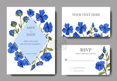 Vector Flax floral botanical flowers. Black and white engraved ink art. Wedding background card.