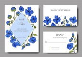 Vector Flax floral botanical flowers Black and white engraved ink art Wedding background card