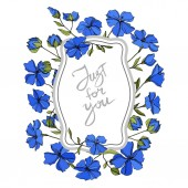 Vector Flax floral botanical flowers Blue and green engraved ink art Frame border ornament square