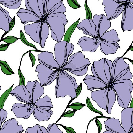 Illustration for Vector Flax floral botanical flowers. Wild spring leaf wildflower isolated. Violet and green engraved ink art. Seamless background pattern. Fabric wallpaper print texture. - Royalty Free Image