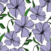 Vector Flax floral botanical flowers Violet and green engraved ink art Seamless background pattern