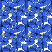 """Постер, картина, фотообои """"Векторный льняцветочные ботанические цветы. Синий и зеленый выгравированы чернила искусства. Бесшовный фоновый шаблон."""""""