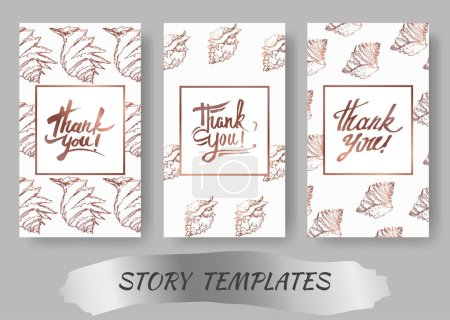 Illustration for Summer beach seashell tropical elements. Black and white engraved ink art. Wedding background card decorative border. Thank you, rsvp, invitation elegant card illustration graphic set banner. - Royalty Free Image