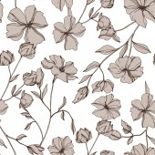 Vector Flax floral botanical flowers Gray engraved ink art Seamless background pattern