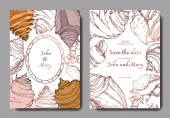 Summer beach seashell tropical elements Engraved ink art Wedding background card decorative border