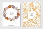 Summer beach seashell tropical elements Engraved ink art Wedding background card decorative border