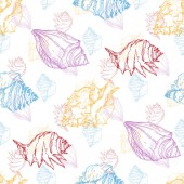 Summer beach seashell tropical elements Black and white engraved ink art Seamless background pattern