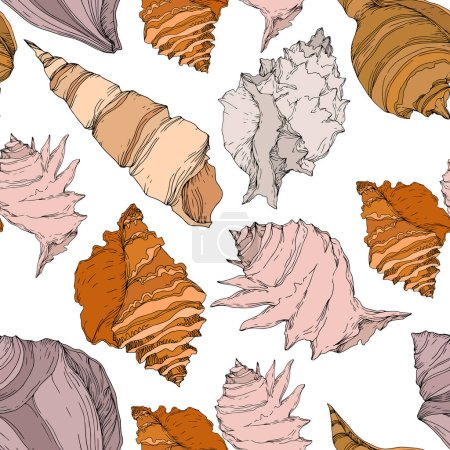 Illustration for Summer beach seashell tropical elements. Black and white engraved ink art. Seamless background pattern. Fabric wallpaper print texture on white background. - Royalty Free Image