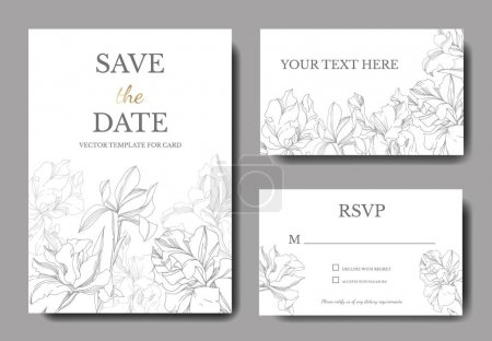 Illustration for Iris floral botanical flowers. Black and white engraved ink art. Wedding background card floral decorative border. Thank you, rsvp, invitation elegant card illustration graphic set banner. - Royalty Free Image