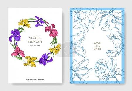 Illustration for Iris floral botanical flowers. Black and white engraved ink art. Wedding background card floral decorative border. Thank you, rsvp, invitation elegant card illustration graphic set banner. - Royalty Free Image