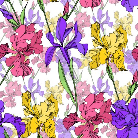 Illustration for Iris floral botanical flowers. Wild spring leaf wildflower isolated. Black and white engraved ink art. Seamless background pattern. Fabric wallpaper print texture. - Royalty Free Image