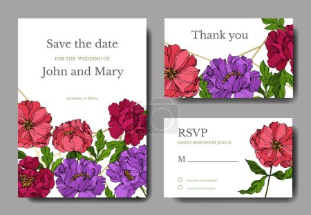 Illustration for Peony floral botanical flowers. Engraved ink art. Wedding background card floral decorative border. Thank you, rsvp, invitation elegant card illustration graphic set banner. - Royalty Free Image