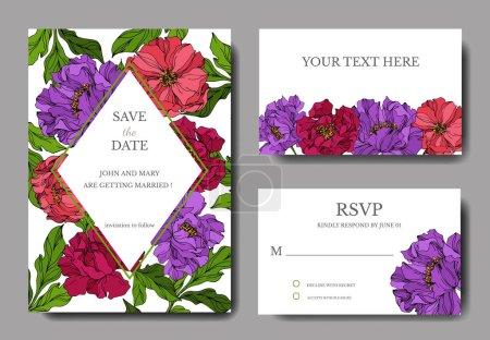 Illustration for Peony floral botanical flowers. Engraved ink art. Wedding background card floral decorative border. Thank you, rsvp, invitation elegant card illustration graphic set banner. - Royalty Free Image