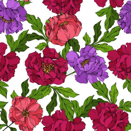 Illustration for Peony floral botanical flowers. Wild spring leaf wildflower isolated. Black and white engraved ink art. Seamless background pattern. Fabric wallpaper print texture. - Royalty Free Image