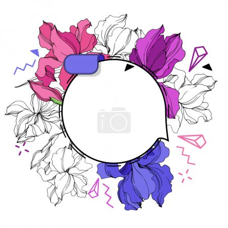 Illustration for Vector Label tags set. Floral badge for text. Engraved ink art. Isolated sticker illustration element. - Royalty Free Image