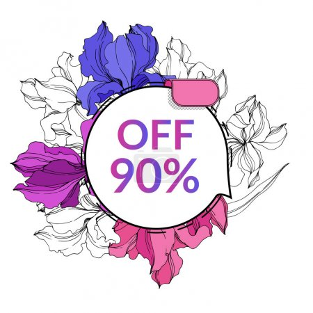 Illustration for Vector Sale tags set. Discount price offer, banner and promotion badge. Engraved ink art. Isolated percent sticker illustration element. - Royalty Free Image
