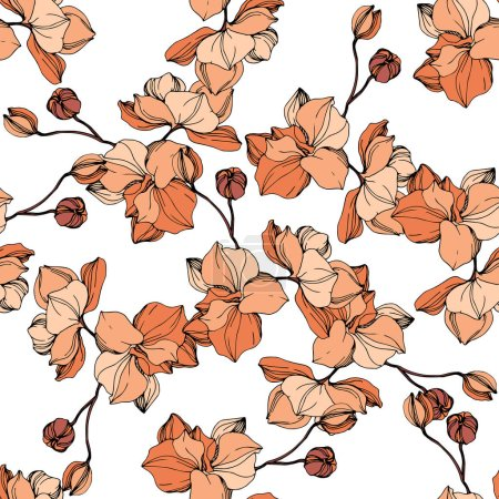 Illustration for Vector Orange orchid. Floral botanical flower. Wild spring leaf wildflower isolated. Engraved ink art. Seamless background pattern. Fabric wallpaper print texture. - Royalty Free Image