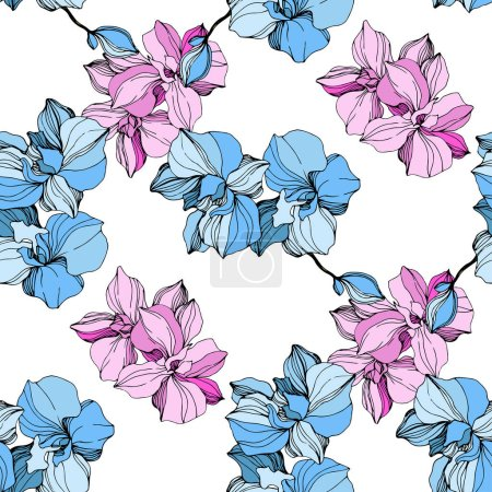 Illustration for Vector Pink and blue orchid. Floral botanical flower. Wild spring leaf wildflower isolated. Engraved ink art. Seamless background pattern. Fabric wallpaper print texture. - Royalty Free Image