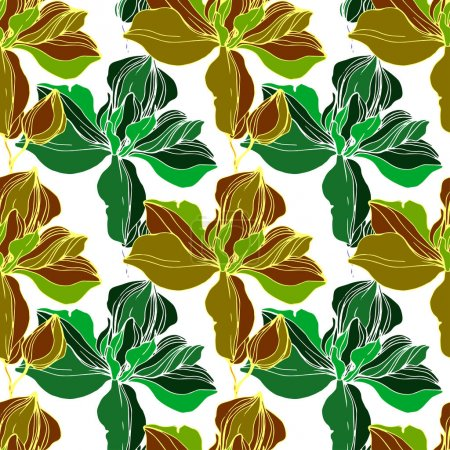 Illustration for Vector Green orchid. Floral botanical flower. Wild spring leaf wildflower isolated. Engraved ink art. Seamless background pattern. Fabric wallpaper print texture. - Royalty Free Image