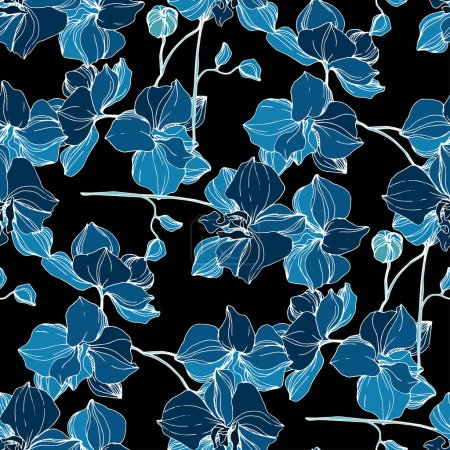 Ilustración de Orquídea Vector Blue. Flor botánica floral. Hoja de primavera silvestre wildflower aislado. Arte de tinta grabado. Patrón de fondo sin costuras. Textura de impresión de fondo de pantalla de tela. - Imagen libre de derechos