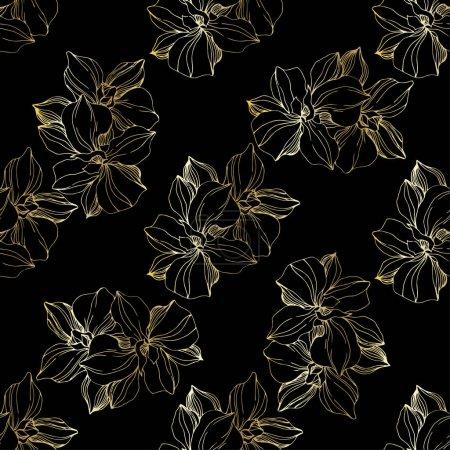 Ilustración de Orquídea de oro vector. Flor botánica floral. Hoja de primavera silvestre wildflower aislado. Arte de tinta grabado. Patrón de fondo sin costuras. Textura de impresión de fondo de pantalla de tela. - Imagen libre de derechos