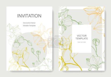 Illustration for Vector Pink, orange and blue orchid flower. Engraved ink art. Wedding background card floral decorative border. Thank you, rsvp, invitation elegant card illustration graphic set banner. - Royalty Free Image