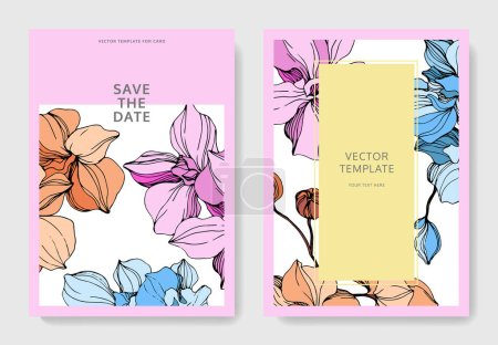 Illustration for Vector Pink, orange and blue orchid flower. Engraved ink art. Wedding background card floral decorative border. Thank you, rsvp, invitation elegant card illustration graphic set banner. - Royalty Free Image