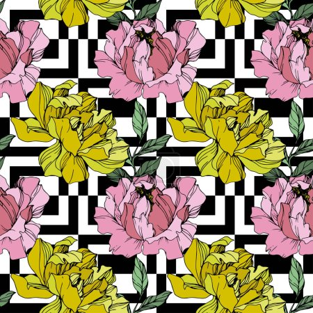 Vector Pink and yellow peony flower. Engraved ink art. Seamless background pattern. Fabric wallpaper print texture.