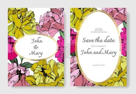 Illustration for Vector Pink and yellow peony. Floral botanical flower. Engraved ink art. Wedding background card floral decorative border. Thank you, rsvp, invitation elegant card illustration graphic set banner. - Royalty Free Image
