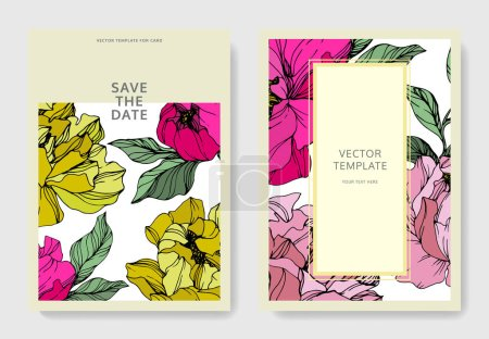 Illustration for Vector Pink and yellow peony. Floral botanical flower. Engraved ink art. Wedding background card floral decorative border. Thank you, rsvp, invitation elegant card illustration graphic set banner. - Royalty Free Image