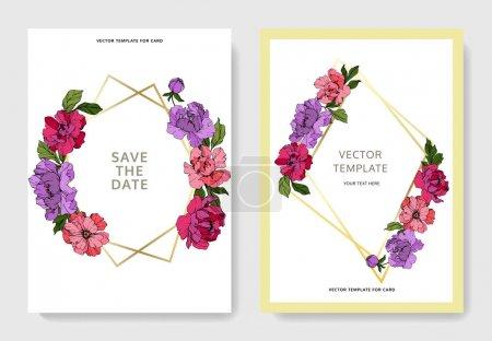 Illustration for Vector Purple and pink peony. Floral botanical flower. Engraved ink art. Wedding background card floral decorative border. Thank you, rsvp, invitation elegant card illustration graphic set banner. - Royalty Free Image