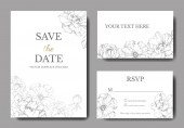 Vector Silver peony Engraved ink art Wedding background card Thank you rsvp invitation card