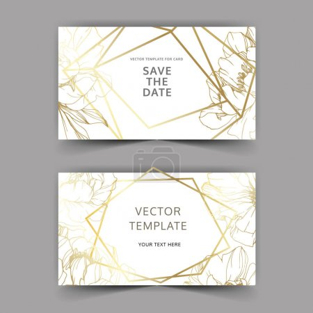 Illustration for Vector Golden peony. Floral botanical flower. Engraved ink art. Wedding background card floral decorative border. Thank you, rsvp, invitation elegant card illustration graphic set banner. - Royalty Free Image