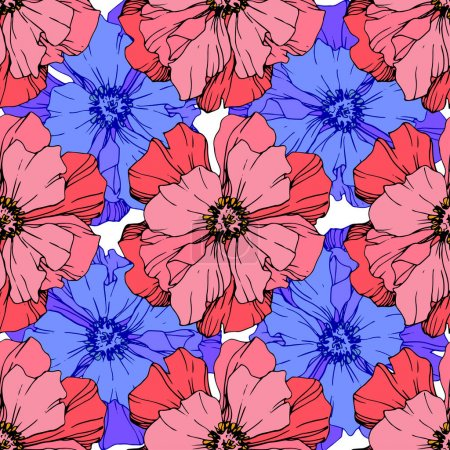 Illustration for Vector Pink and blue peony. Floral botanical flower. Wild spring leaf wildflower isolated. Engraved ink art. Seamless background pattern. Fabric wallpaper print texture. - Royalty Free Image