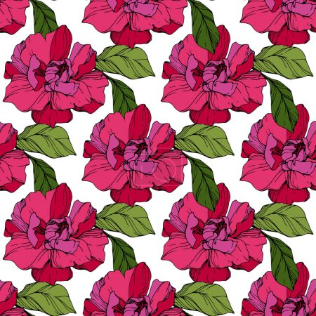 Illustration for Vector Pink peony. Floral botanical flower. Wild spring leaf wildflower isolated. Engraved ink art. Seamless background pattern. Fabric wallpaper print texture. - Royalty Free Image