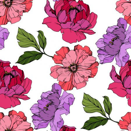 Illustration for Vector Pink and purple peony. Floral botanical flower. Wild spring leaf wildflower isolated. Engraved ink art. Seamless background pattern. Fabric wallpaper print texture. - Royalty Free Image