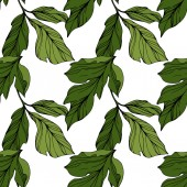 Vector Green leaf Engraved ink art Seamless background pattern Fabric wallpaper print texture