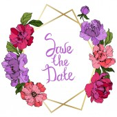 Vector Pink and purple peony Engraved ink art Frame border ornament square Save the Date handwriting calligraphy