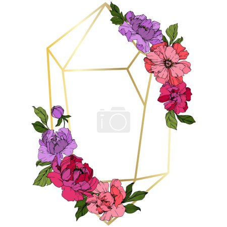 Illustration for Vector Pink and purple peony. Floral botanical flower. Wild spring leaf wildflower isolated. Engraved ink art. Frame border ornament square. - Royalty Free Image