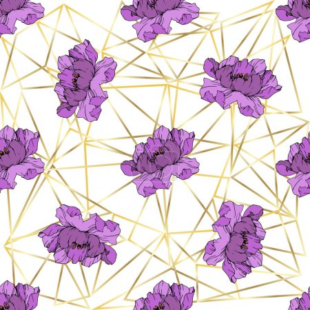 Illustration for Vector Purple peony. Floral botanical flower. Wild spring leaf wildflower isolated. Engraved ink art. Seamless background pattern. Fabric wallpaper print texture. - Royalty Free Image