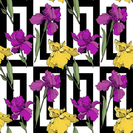 Illustration for Vector Purple, yellow and blue iris. Floral botanical flower. Wild spring leaf wildflower isolated. Engraved ink art. Seamless background pattern. Fabric wallpaper print texture. - Royalty Free Image